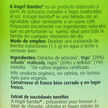 Achicoria Soluble Bambú - A. Vogel - tienda vegana online