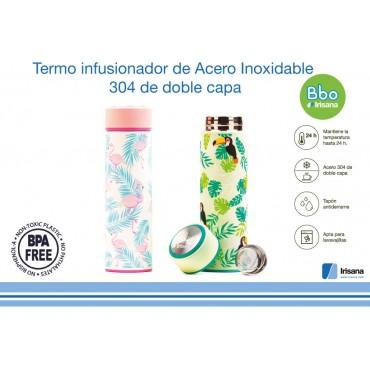 Termo Infusionador Bbo Flamenco - Irisana - tienda vegana online