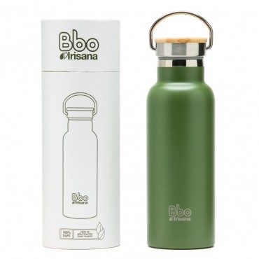 Botella termo reutilizable Bbo verde - Irisana