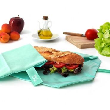 Porta bocadillos square verde menta - by Roll'eat - tienda vegana online