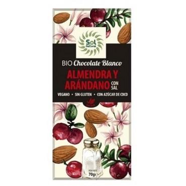 Chocolate Blanco con  Almendra y Arándano con Sal - Sol Natural - tienda vegana online
