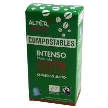 cápsulas de café intenso compostables.