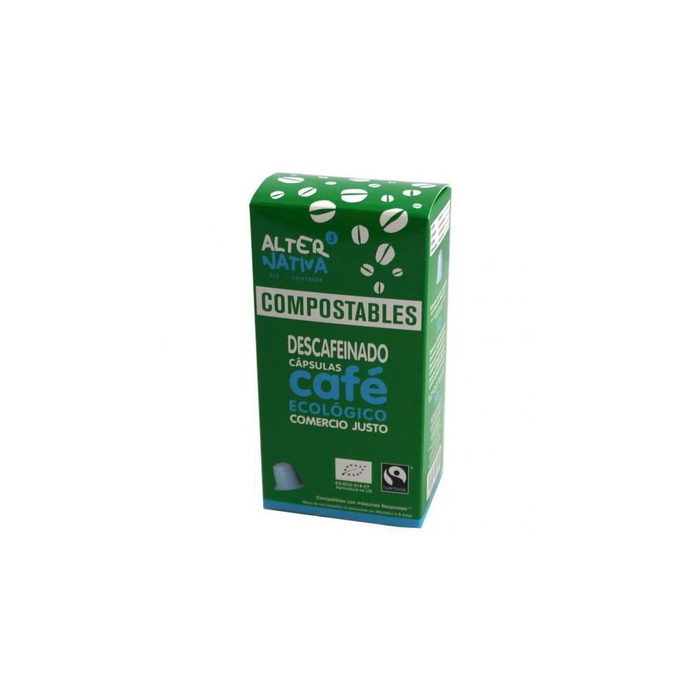 Cápsulas de café descafeinado compostables.