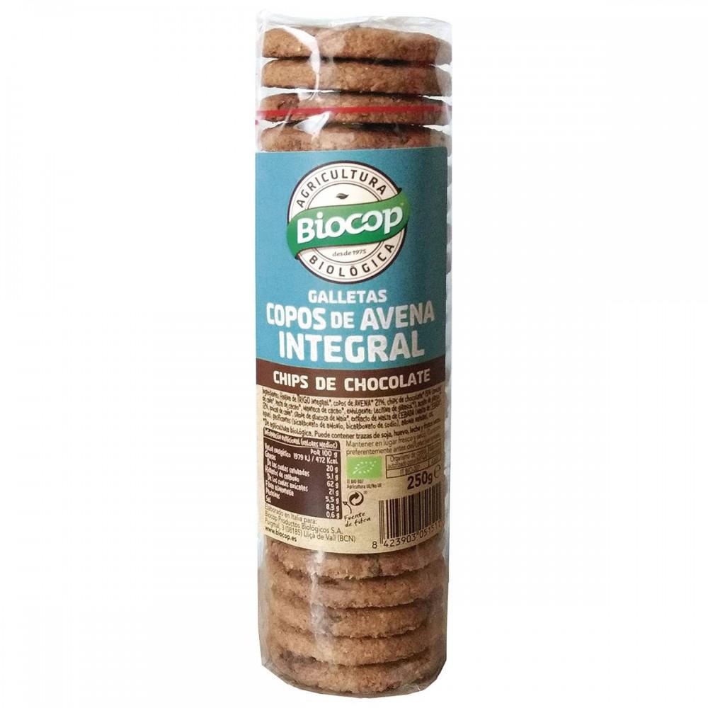 Galletas Copos Avena Integral con Chips Chocolate - Biocop - tienda vegana online