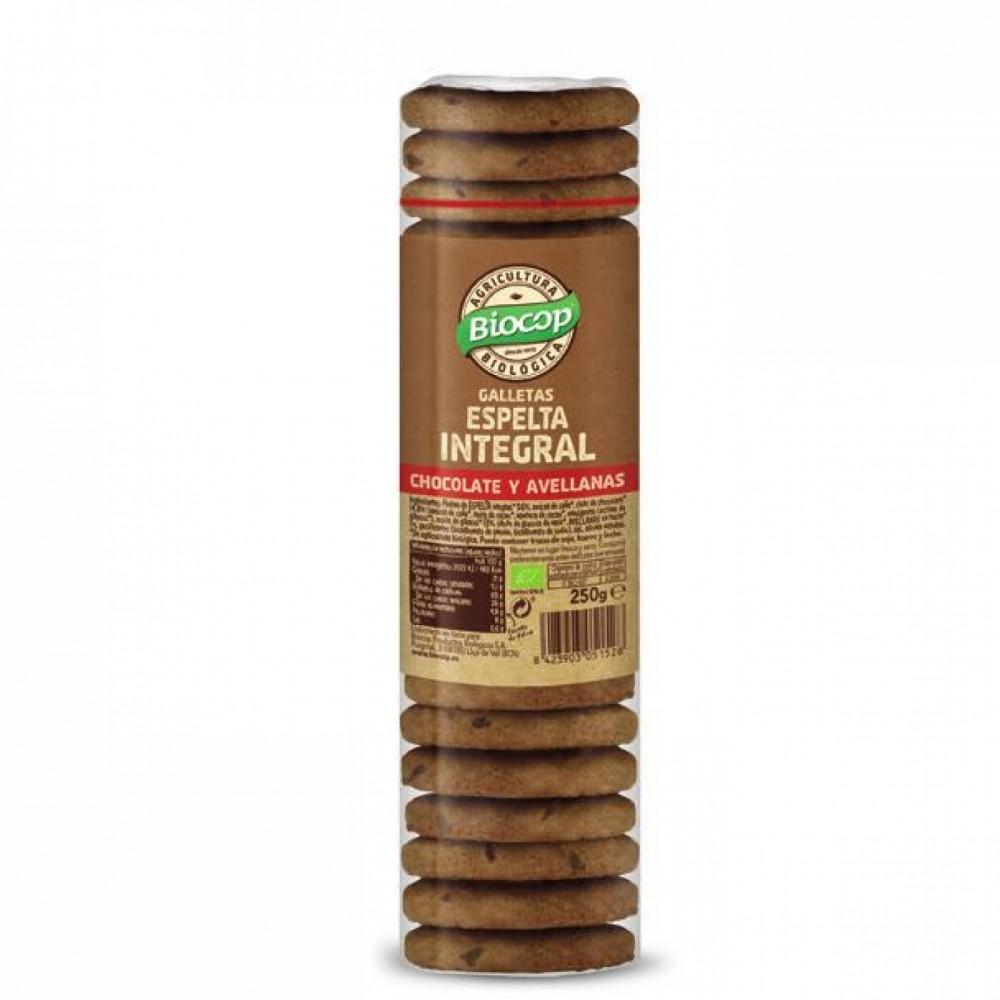 Galletas Espelta Integral Chocolate y Avellanas - Biocop - tienda vegana online