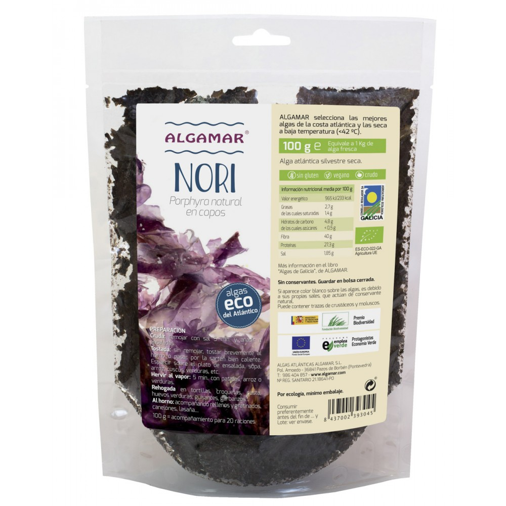 Alga Nori en copos 100 g. - Algamar - tienda vegana online