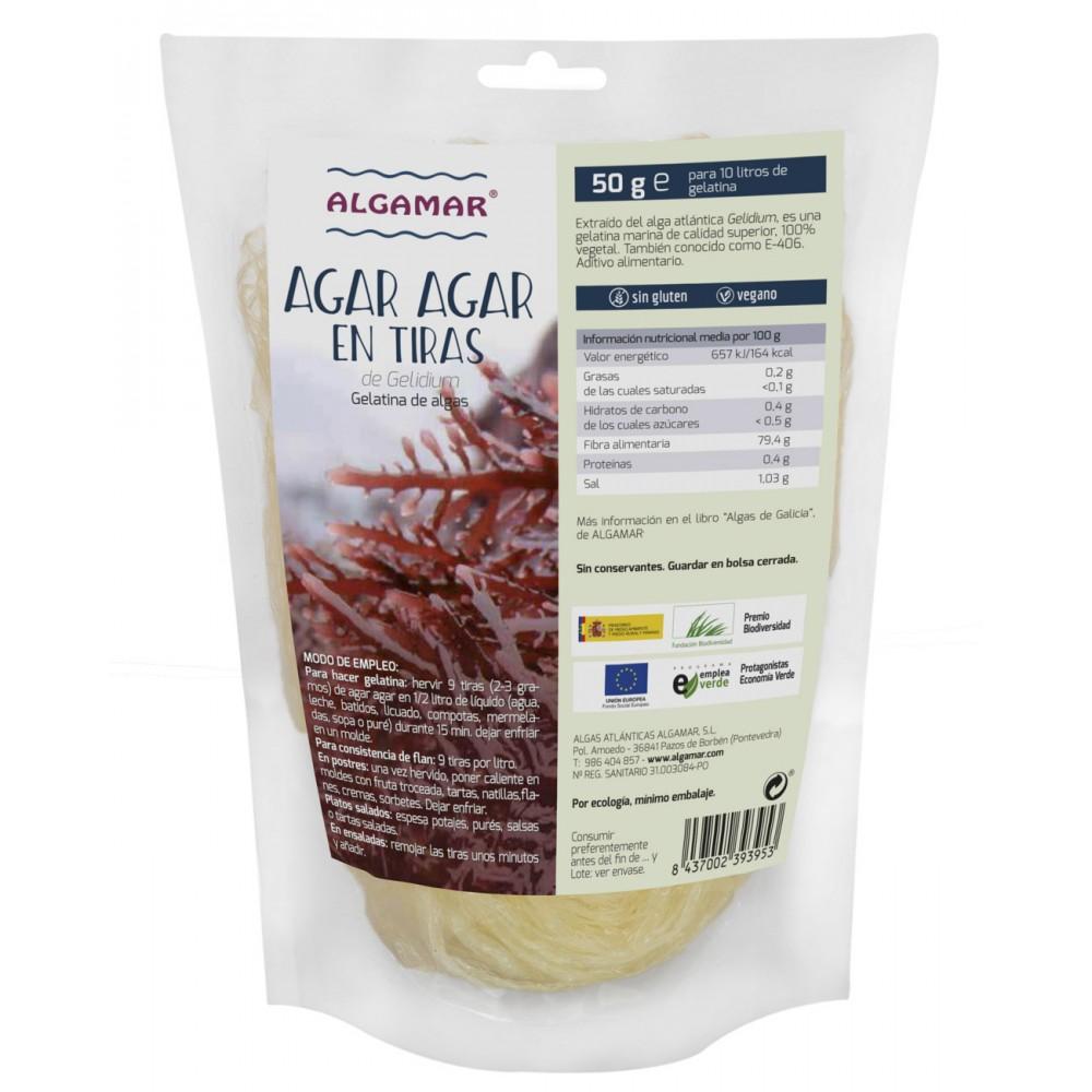Alga Agar Agar en tiras 50 g. - Algamar - tienda vegana online