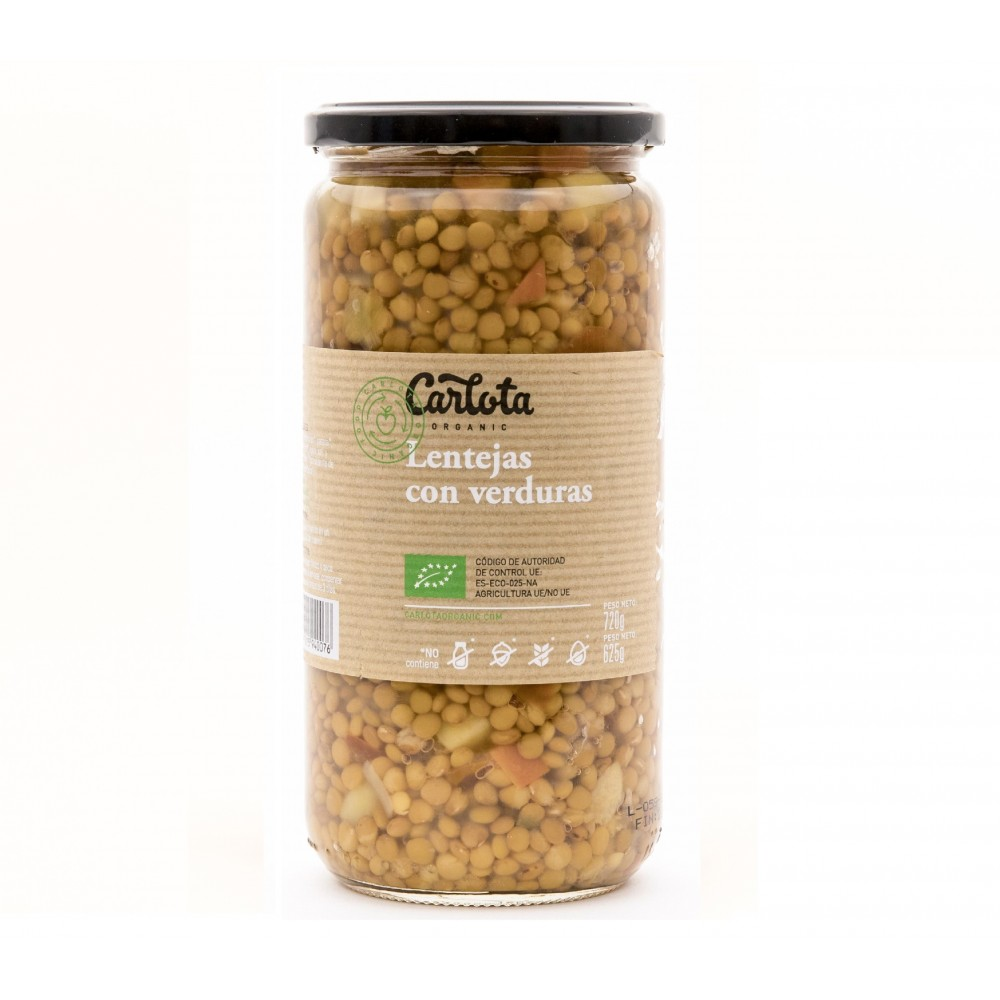 Lentejas con verduras 720 g. - Carlota - tienda vegana online