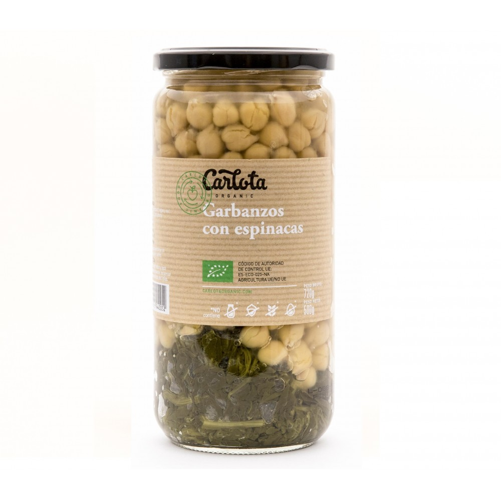 Garbanzos con espinacas 720 g. - Carlota - tienda vegana online