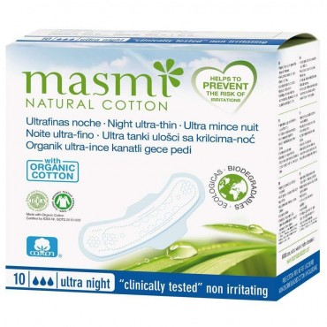 Compresas Ultrafinas Noche - Masmi Natural Cotton