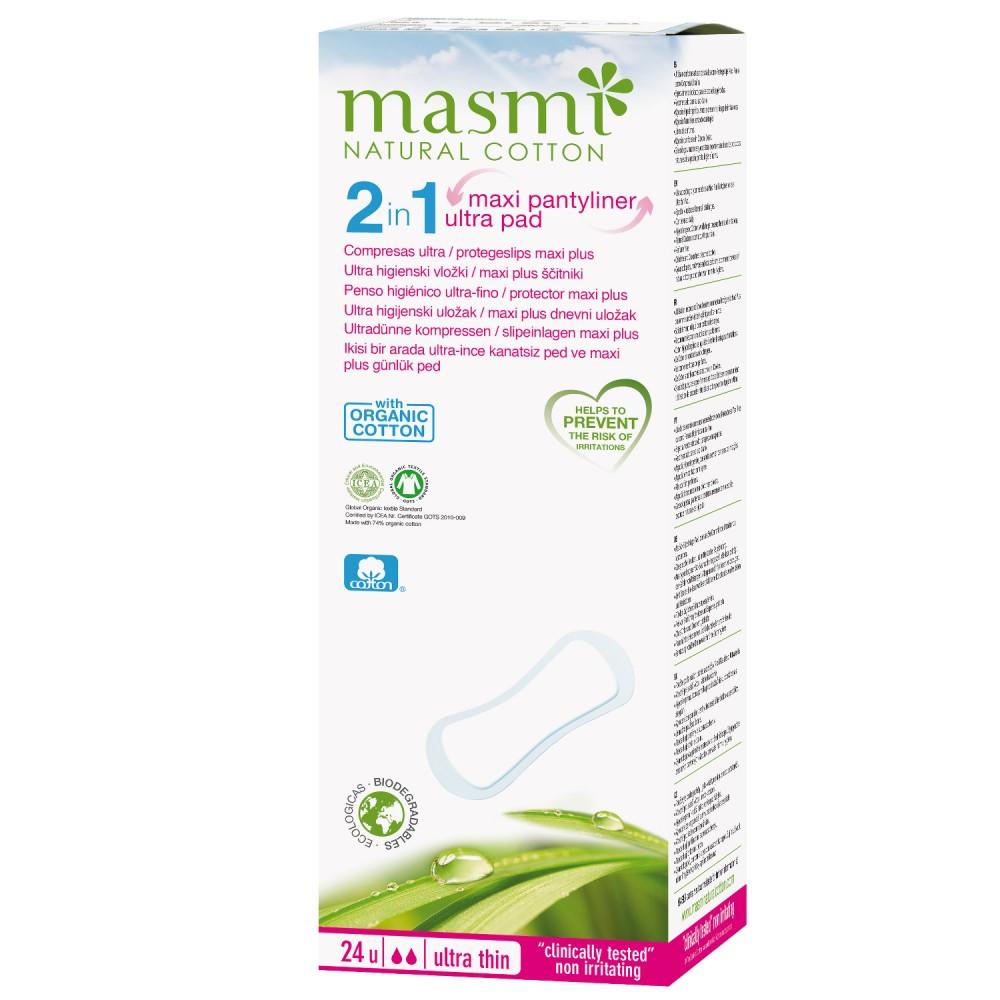 Protegeslip Maxi / Compresas Ultrafinas - Masmi Natural Cotton - tienda vegana online