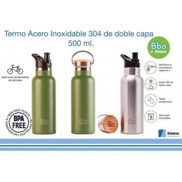 Botella termo reutilizable Bbo verde  o plata - Irisana