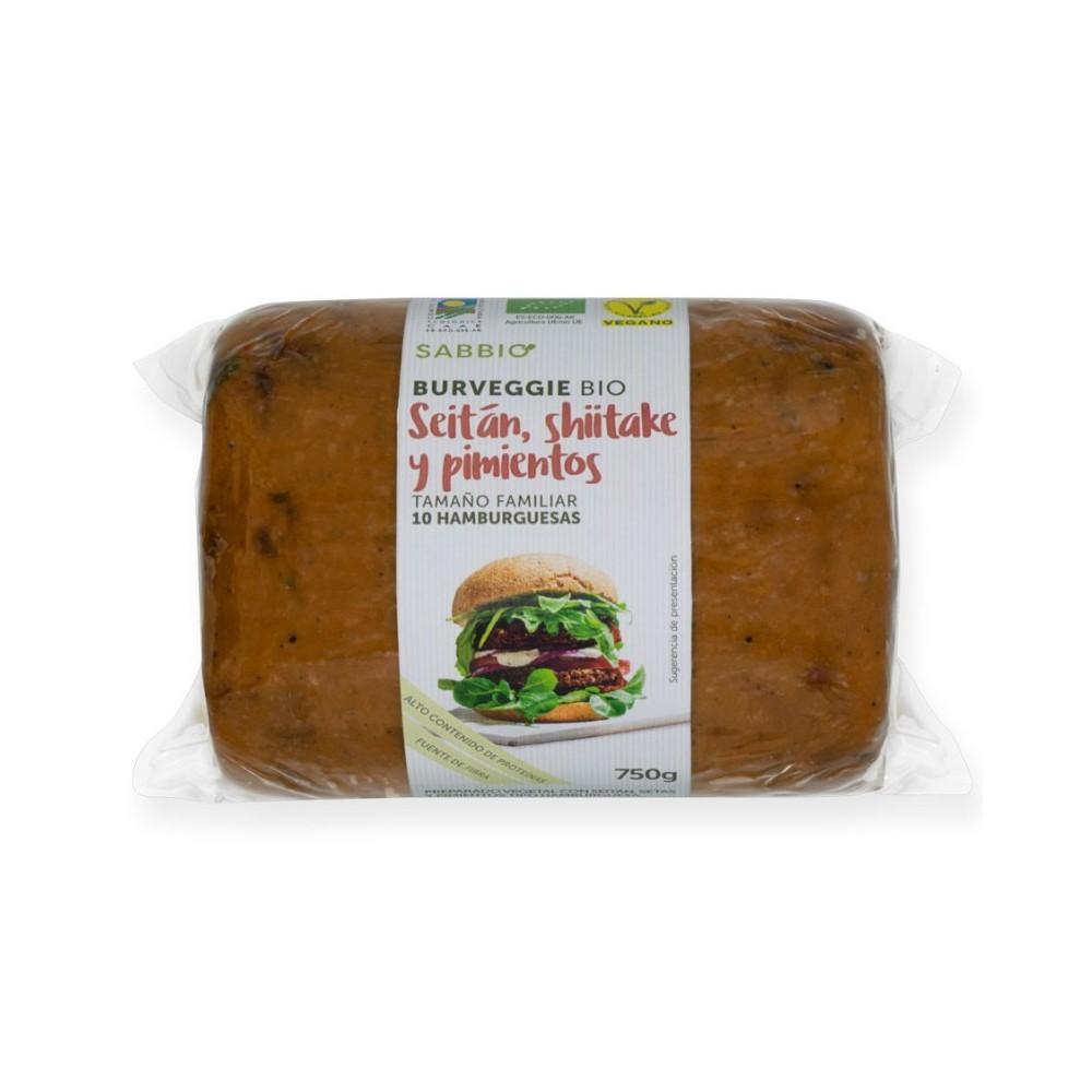 Bio Burger de Setas y Pimientos 750 g. - Sabbio - tienda vegana online