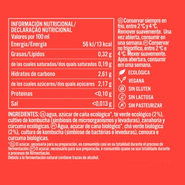 Kombucha Zanahoria y Cúrcuma - KomVida - tienda vegana online